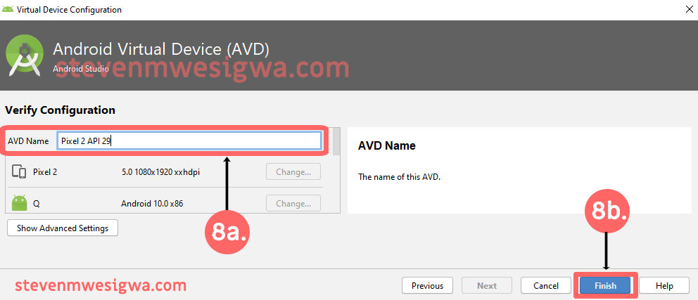 Creating An Android Virtual Device - Change AVD Name - Step 1