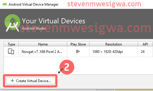 Creating An Android Virtual Device - Create Virtual Device Button