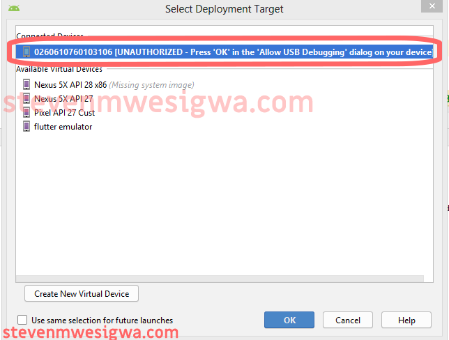 Run App On Smart Phone - First Time Select Deployment Target Window